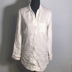 Michael Kors Pinned Stripe Linen Shirt 🖤🐚🖤